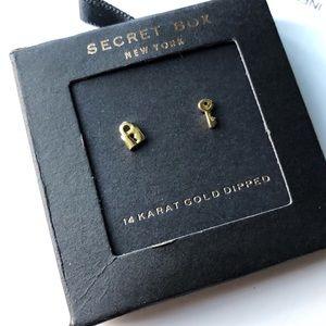 Secret Box Lock & Key Dainty Stud Gold Earrings